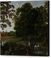 Landscape With A Courtly Procession Before Abtspoel Castle Canvas Print by Esaias I van de Velde