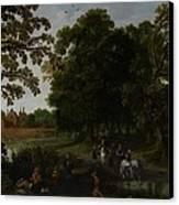 Landscape With A Courtly Procession Before Abtspoel Castle Canvas Print by Esaias I van de Velde