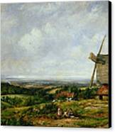 Landscape With Figures By A Windmill Canvas Print by Frederick Waters Watts
