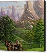 Landscape With Man Driving Horse And Cart Canvas Print by Martin Davey