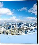 Landscape With Snow Covered Trees Canvas Print by Boon Mee