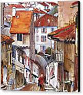 Laneways Of Nerac Canvas Print by Shirley  Peters