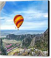 Lanscape Of Mountain And Balloon Canvas Print by Anek Suwannaphoom