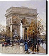L'arc De Triomphe Paris Canvas Print by Eugene Galien-Laloue