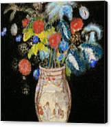 Large Bouquet On A Black Background Canvas Print by Odilon Redon