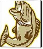 Largemouth Bass Fish Jumping Retro Canvas Print by Aloysius Patrimonio