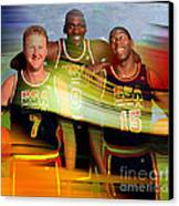 Larry Bird Michael Jordon And Magic Johnson Canvas Print by Marvin Blaine