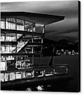 late evening at the Vancouver convention centre west building on burrard inlet BC Canada Canvas Print by Joe Fox