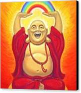 Laughing Rainbow Buddha Canvas Print by Sue Halstenberg