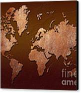 Leather World Map Canvas Print