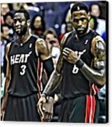 Lebron James And Dwyane Wade Canvas Print