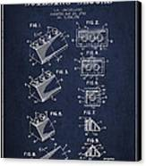 Lego Toy Building Blocks Patent - Navy Blue Canvas Print by Aged Pixel