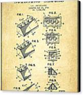 Lego Toy Building Blocks Patent - Vintage Canvas Print by Aged Pixel