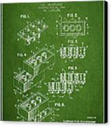 Lego Toy Building Brick Patent - Green Canvas Print by Aged Pixel