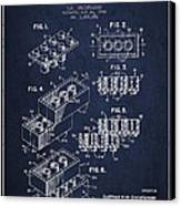 Lego Toy Building Brick Patent - Navy Blue Canvas Print by Aged Pixel