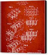 Lego Toy Building Brick Patent - Red Canvas Print