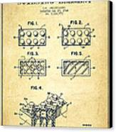 Lego Toy Building Element Patent - Vintage Canvas Print by Aged Pixel