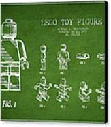 Lego Toy Figure Patent Drawing From 1979 - Green Canvas Print