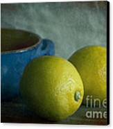 Lemons And Blue Terracotta Pot Canvas Print by Elena Nosyreva