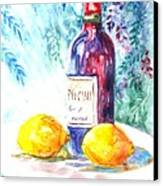 Lemons And Wine And A Little Sunshine Canvas Print by Carol Wisniewski