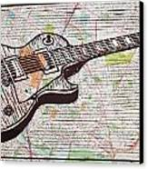 Les Paul On Austin Map Canvas Print by William Cauthern