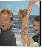Beach - Children Playing - Kite Canvas Print by Jan Dappen