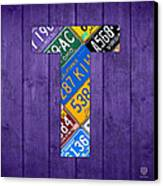 Letter T Alphabet Vintage License Plate Art Canvas Print