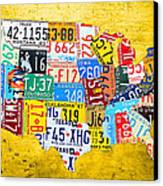 License Plate Art Map Of The United States On Yellow Board Canvas Print by Design Turnpike