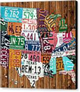 License Plate Map Of The United States - Warm Colors On Pine Board Canvas Print by Design Turnpike