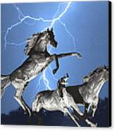 Lightning At Horse World Bw Color Print Canvas Print by James BO  Insogna