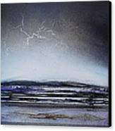 Lightning Storm Druridge Bay 1 Canvas Print by Mike   Bell
