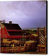 Lightning Strikes Over The Farm Canvas Print by James BO  Insogna