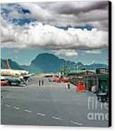 Lihue Airport With Cumulus Clouds In Kauai Hawaii  Canvas Print