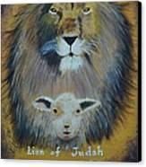 Lion And The Lamb Canvas Print by Kat Poon