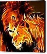 Lions In Love Canvas Print by Pamela Johnson
