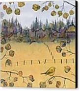 Little Bird And Fence Canvas Print by Carolyn Doe