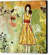 Little Birdie Inspirational Mixed Media Folk Art By Janelle Nichol Canvas Print by Janelle Nichol