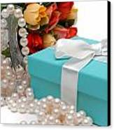 Little Blue Gift Box With Pearls And Flowers Canvas Print by Amy Cicconi