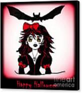 Little Goth Halloween Girl Canvas Print by Eva Thomas