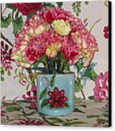 Little Old Vase And Carnations Canvas Print by Good Taste Art