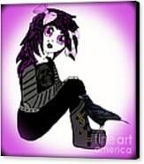 Little Purple Goth Girl Canvas Print by Eva Thomas