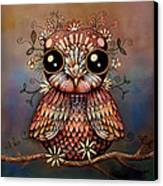 Little Rainbow Flower Owl Canvas Print