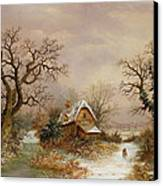 Little Red Riding Hood In The Snow Canvas Print