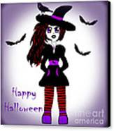 Little Witch Halloween Girl Canvas Print by Eva Thomas
