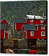 Lofoten Fishing Huts 2 Canvas Print by Steve Harrington