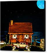 Log Cabin Scene With Old Time Vintage Classic 1930 Packard Labaron In Color Canvas Print by Leslie Crotty