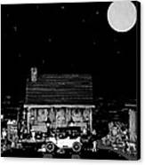 Log Cabin Scene  With The Old Vintage Classic 1913 Buick Model 25 In Black And White Canvas Print