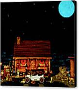 Log Cabin Scene  With The Old Vintage Classic 1913 Buick Model 25 In Color Canvas Print