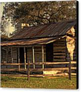 Log Cabins In Sunset Canvas Print by Linda Phelps