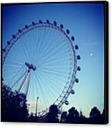 London Eye With Full Moon Canvas Print by Maeve O Connell